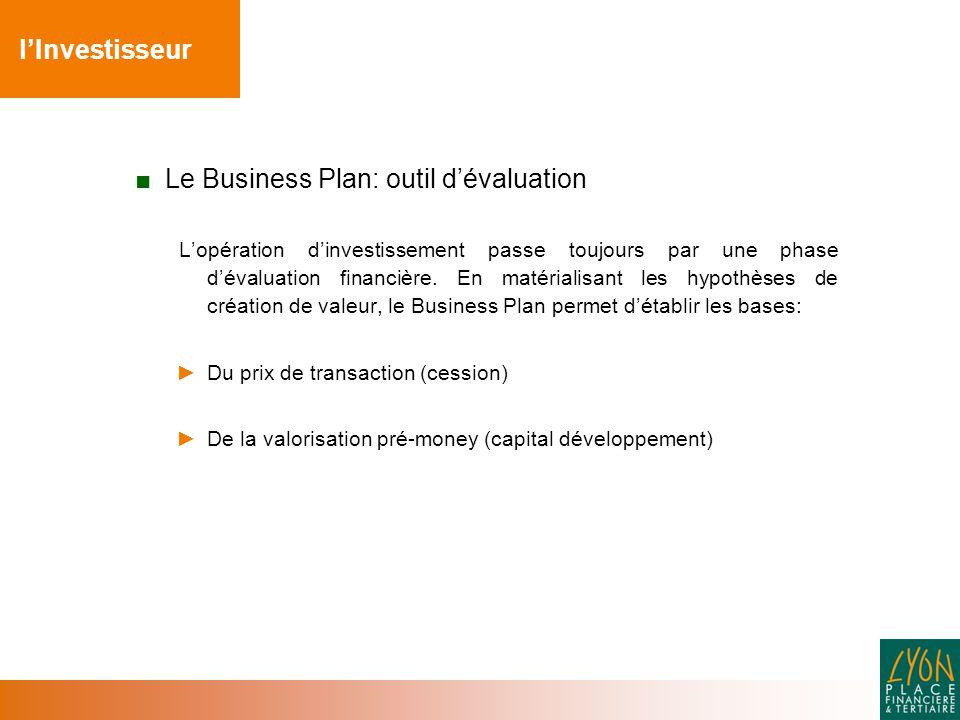 ■ Le Business Plan: outil d'évaluation L'opération d'investissement passe toujours par une phase d'évaluation financière.