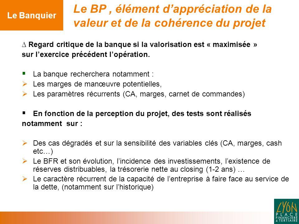 ∆ Regard critique de la banque si la valorisation est « maximisée » sur l'exercice précédent l'opération.
