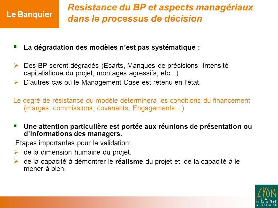 La dégradation des modèles n'est pas systématique :  Des BP seront dégradés (Ecarts, Manques de précisions, Intensité capitalistique du projet, montages agressifs, etc...)  D'autres cas où le Management Case est retenu en l'état.