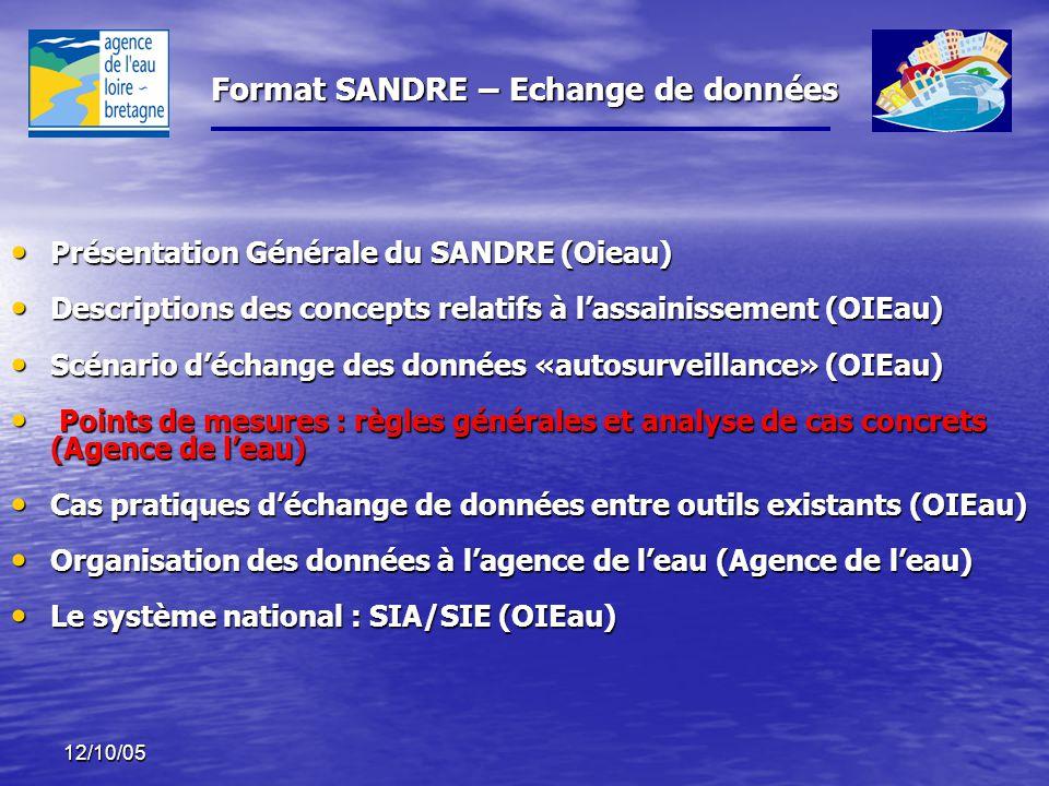 Format SANDRE – Echange de données 12/10/05 Présentation Générale du SANDRE (Oieau) Présentation Générale du SANDRE (Oieau) Descriptions des concepts relatifs à l'assainissement (OIEau) Descriptions des concepts relatifs à l'assainissement (OIEau) Scénario d'échange des données «autosurveillance» (OIEau) Scénario d'échange des données «autosurveillance» (OIEau) Points de mesures : règles générales et analyse de cas concrets (Agence de l'eau) Points de mesures : règles générales et analyse de cas concrets (Agence de l'eau) Cas pratiques d'échange de données entre outils existants (OIEau) Cas pratiques d'échange de données entre outils existants (OIEau) Organisation des données à l'agence de l'eau (Agence de l'eau) Organisation des données à l'agence de l'eau (Agence de l'eau) Le système national : SIA/SIE (OIEau) Le système national : SIA/SIE (OIEau)