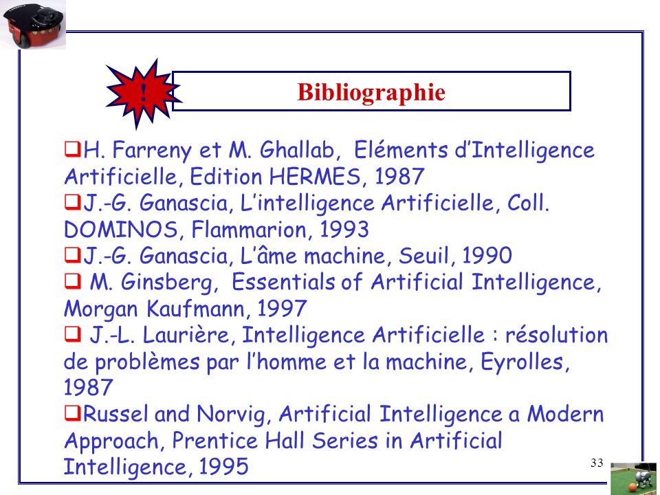 33  H. Farreny et M. Ghallab, Eléments d'Intelligence Artificielle, Edition HERMES, 1987  J.-G. Ganascia, L'intelligence Artificielle, Coll. DOMINOS