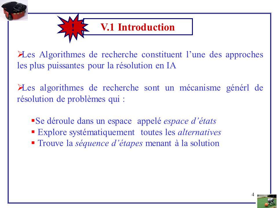 4 V.1 Introduction !  Les Algorithmes de recherche constituent l'une des approches les plus puissantes pour la résolution en IA  Les algorithmes de