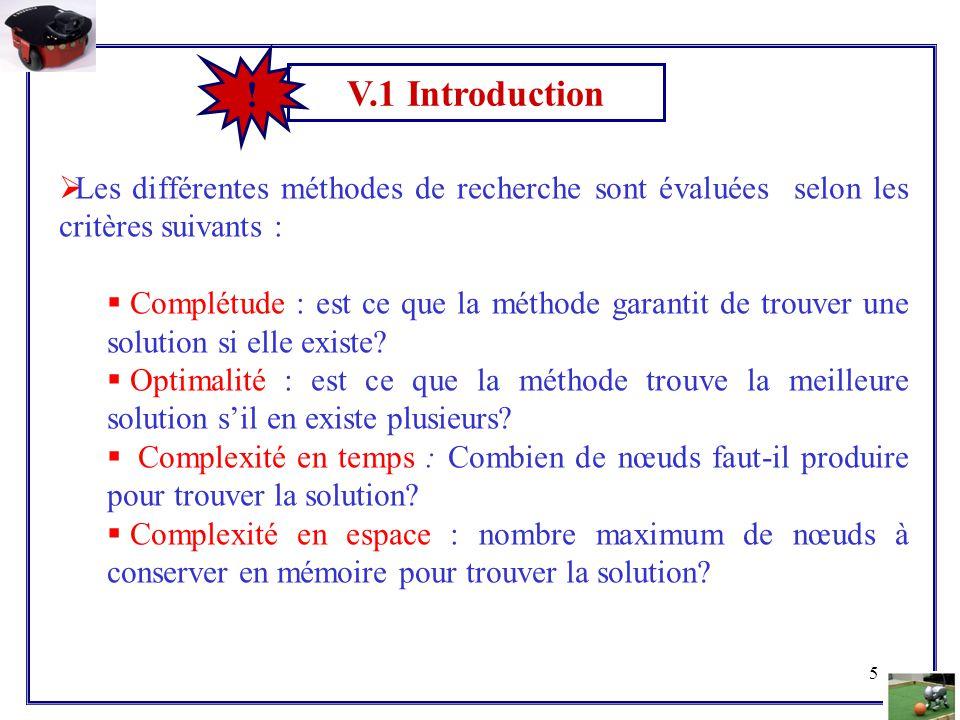 5 V.1 Introduction !  Les différentes méthodes de recherche sont évaluées selon les critères suivants :  Complétude : est ce que la méthode garantit