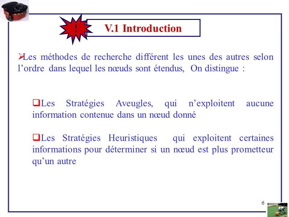 6 V.1 Introduction !  Les méthodes de recherche différent les unes des autres selon l'ordre dans lequel les nœuds sont étendus, On distingue :  Les