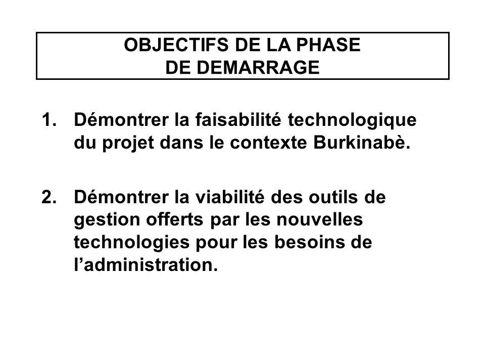 OBJECTIFS DE LA PHASE DE DEMARRAGE 1.Démontrer la faisabilité technologique du projet dans le contexte Burkinabè. 2.Démontrer la viabilité des outils