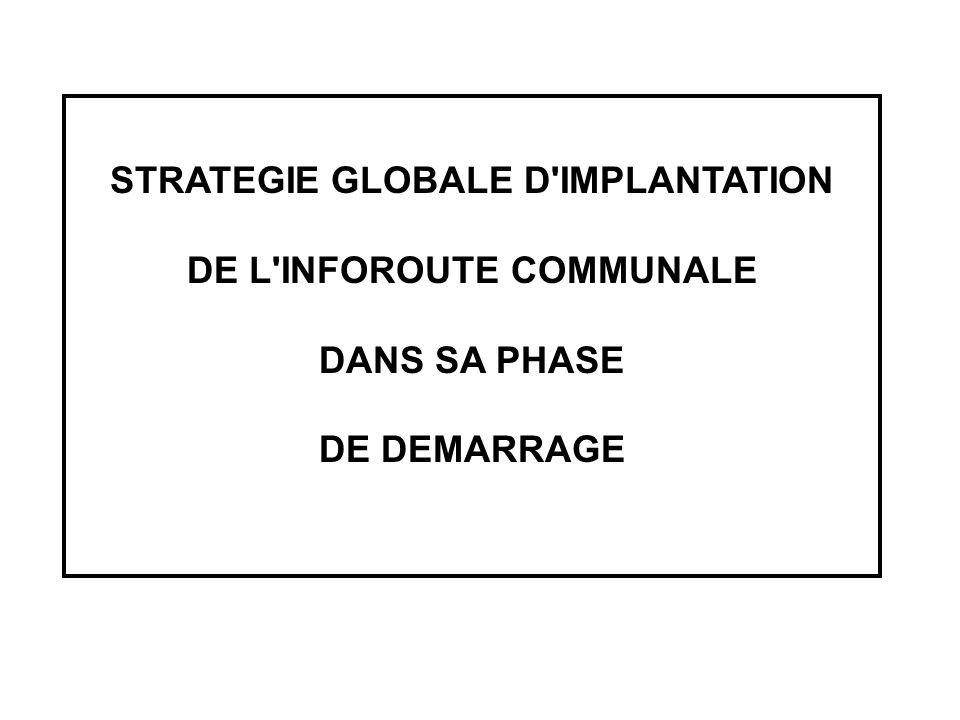 STRATEGIE GLOBALE D'IMPLANTATION DE L'INFOROUTE COMMUNALE DANS SA PHASE DE DEMARRAGE