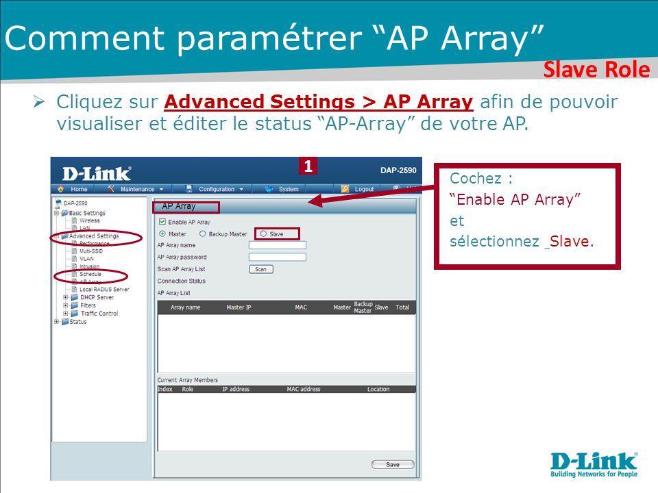 Slave Role 1 Comment paramétrer AP Array  Cliquez sur Advanced Settings > AP Array afin de pouvoir visualiser et éditer le status AP-Array de votre AP.
