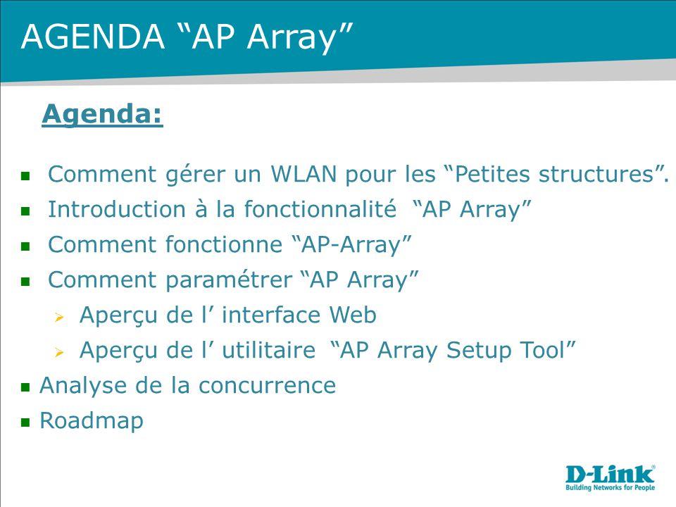 """Agenda: Comment gérer un WLAN pour les """"Petites structures"""". Introduction à la fonctionnalité """"AP Array"""" Comment fonctionne """"AP-Array"""" Comment paramét"""