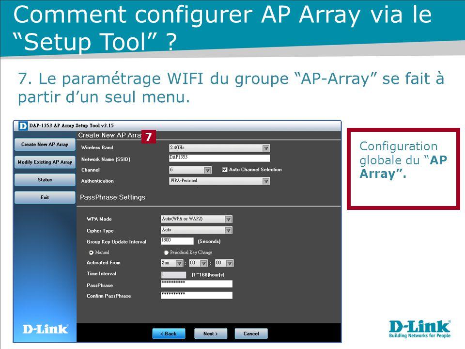 """Configuration globale du """"AP Array"""". 7 Comment configurer AP Array via le """"Setup Tool"""" ? 7. Le paramétrage WIFI du groupe """"AP-Array"""" se fait à partir"""
