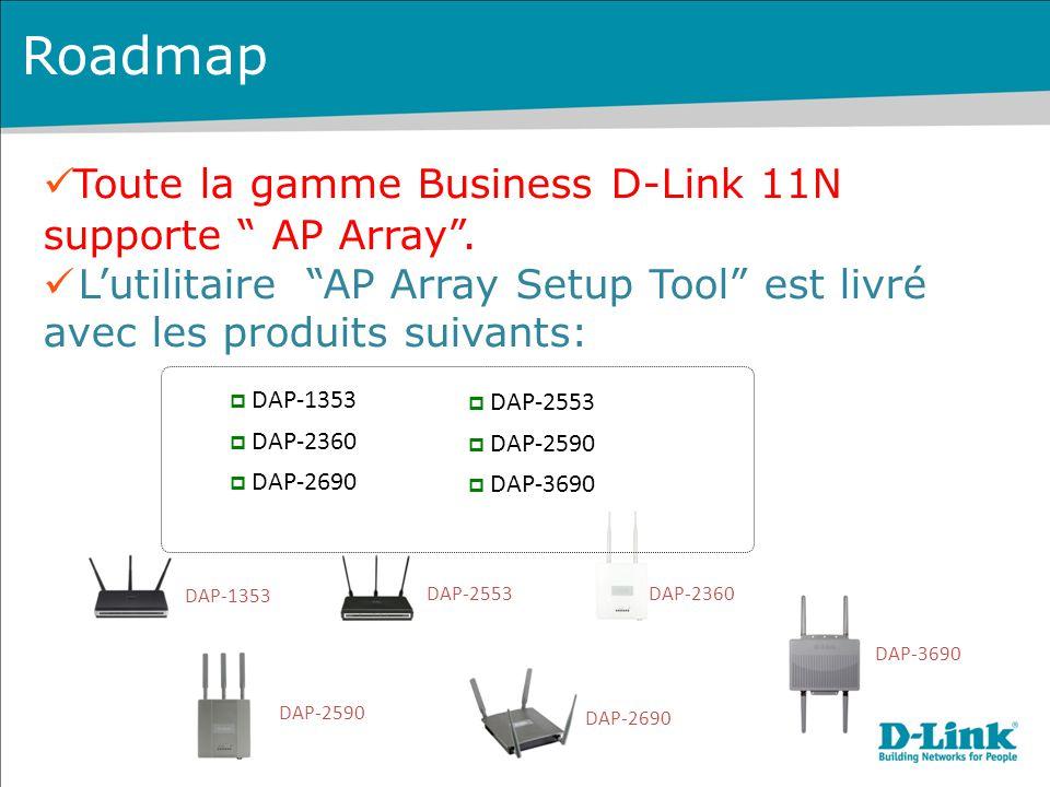 """DAP-2690 DAP-2553 DAP-1353 Roadmap Toute la gamme Business D-Link 11N supporte """" AP Array"""". L'utilitaire """"AP Array Setup Tool"""" est livré avec les prod"""