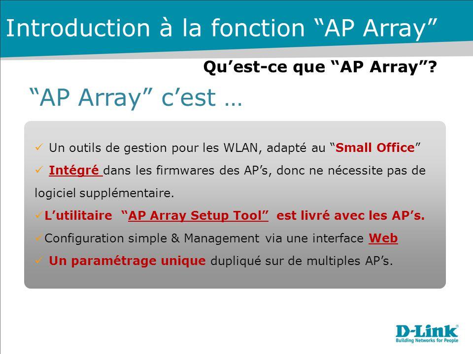 """Qu'est-ce que """"AP Array""""? """"AP Array"""" c'est … Un outils de gestion pour les WLAN, adapté au """"Small Office"""" Intégré dans les firmwares des AP's, donc ne"""