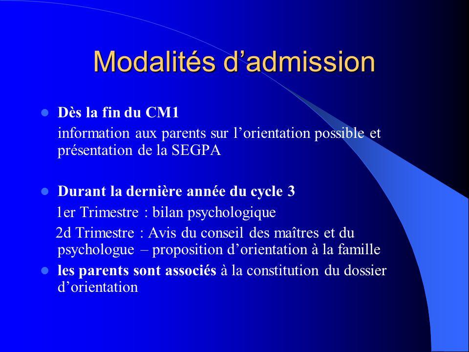 Modalités d'admission Dès la fin du CM1 information aux parents sur l'orientation possible et présentation de la SEGPA Durant la dernière année du cyc