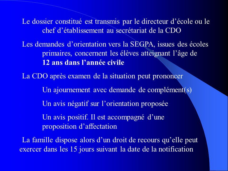 Le dossier constitué est transmis par le directeur d'école ou le chef d'établissement au secrétariat de la CDO Les demandes d'orientation vers la SEGP