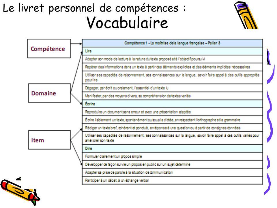 Vocabulaire Le livret personnel de compétences :