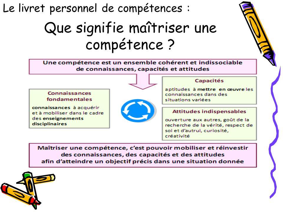 Que signifie maîtriser une compétence ? Le livret personnel de compétences :