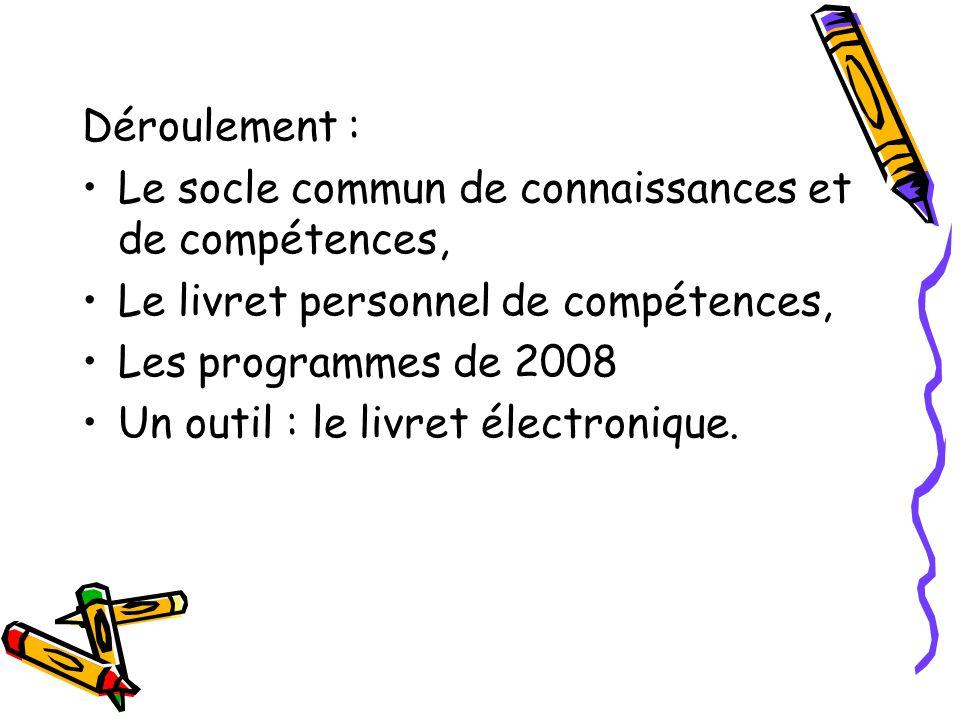 Déroulement : Le socle commun de connaissances et de compétences, Le livret personnel de compétences, Les programmes de 2008 Un outil : le livret élec