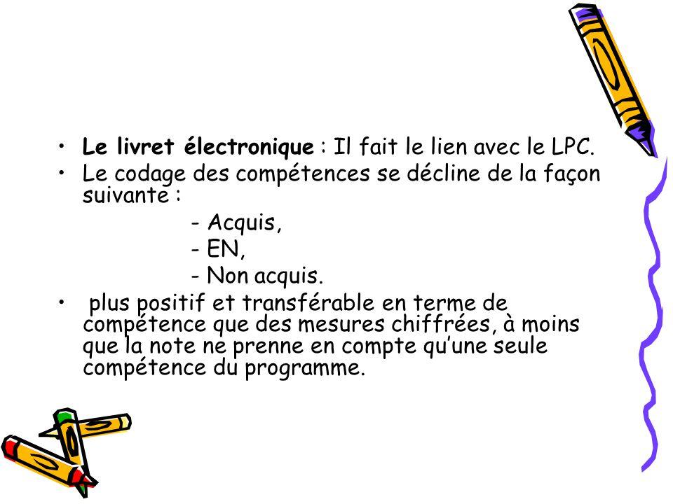 Le livret électronique : Il fait le lien avec le LPC. Le codage des compétences se décline de la façon suivante : - Acquis, - EN, - Non acquis. plus p