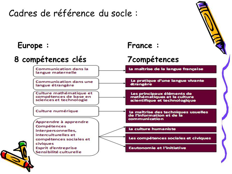 Europe : 8 compétences clés France : 7compétences Cadres de référence du socle :
