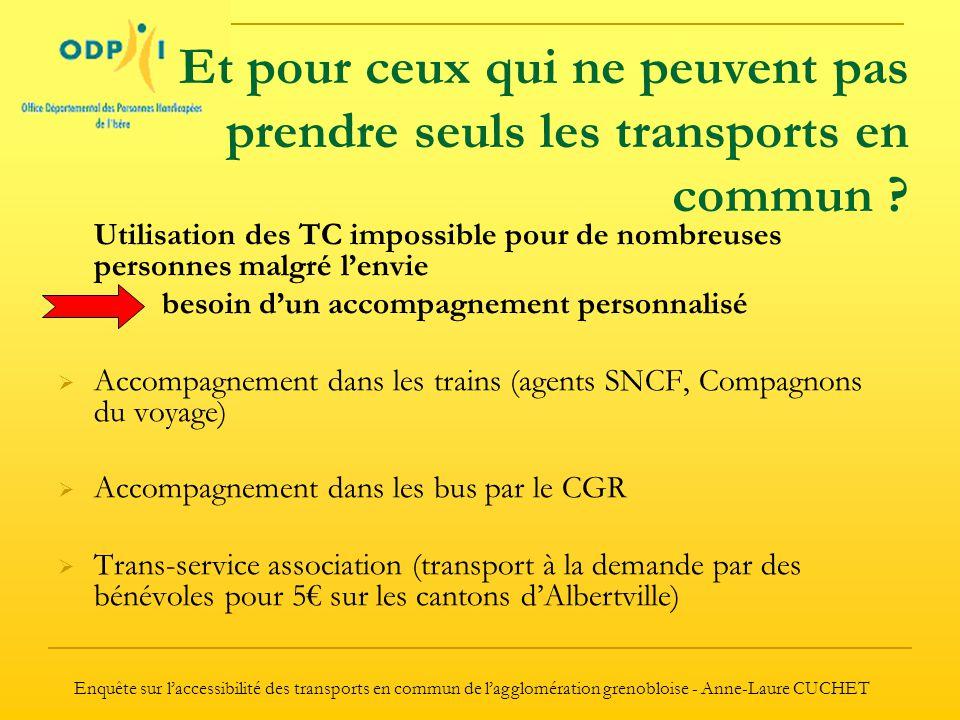 Enquête sur l'accessibilité des transports en commun de l'agglomération grenobloise - Anne-Laure CUCHET Et pour ceux qui ne peuvent pas prendre seuls les transports en commun .