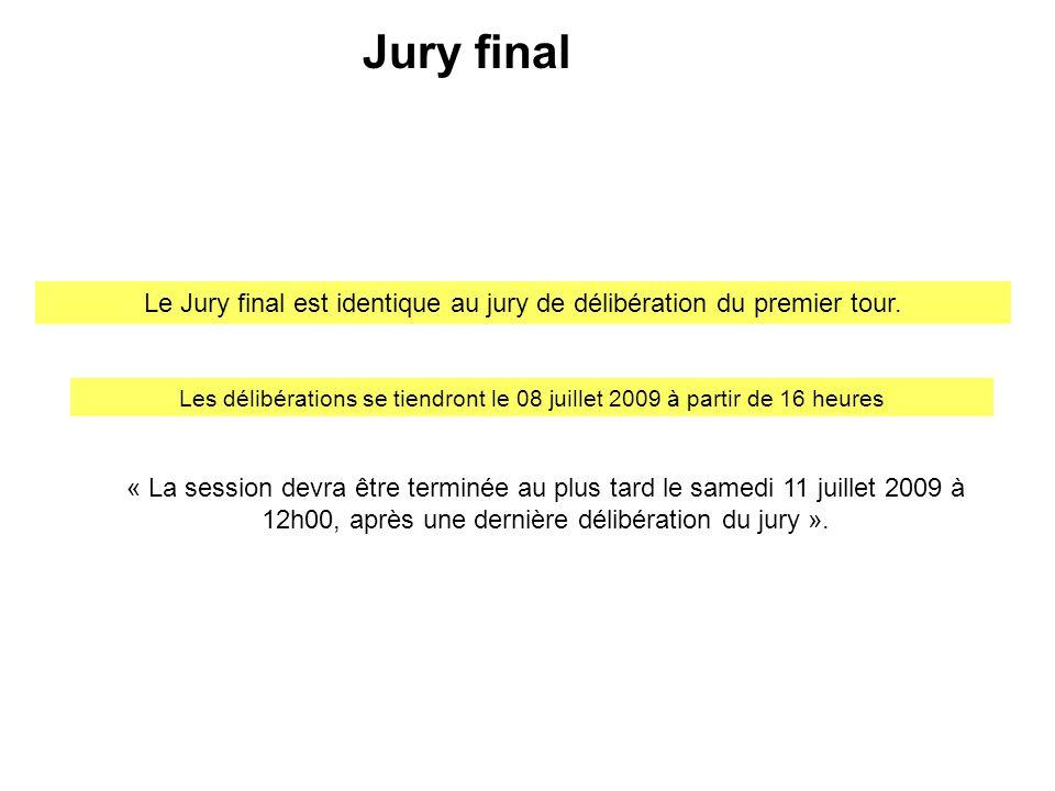 « La session devra être terminée au plus tard le samedi 11 juillet 2009 à 12h00, après une dernière délibération du jury ». Le Jury final est identiqu