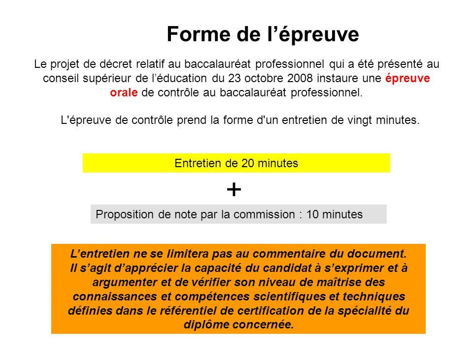 Forme de l'épreuve Le projet de décret relatif au baccalauréat professionnel qui a été présenté au conseil supérieur de l'éducation du 23 octobre 2008