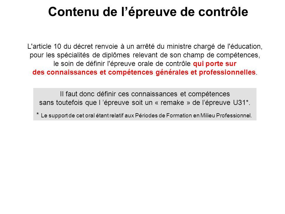 Contenu de l'épreuve de contrôle L'article 10 du décret renvoie à un arrêté du ministre chargé de l'éducation, pour les spécialités de diplômes releva