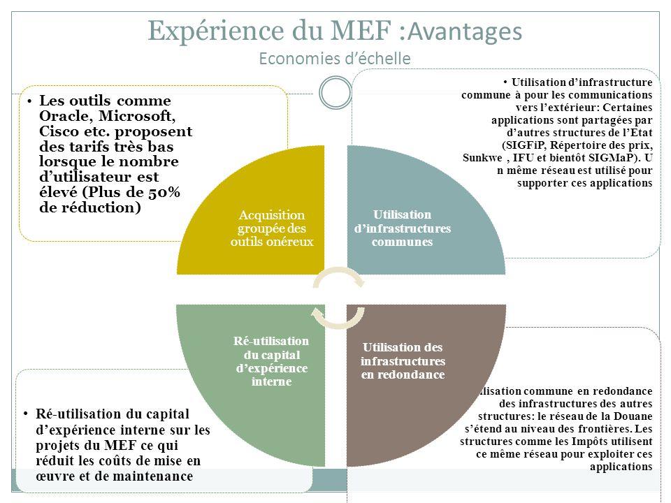 Expérience du MEF : Avantages Economies d'échelle Utilisation commune en redondance des infrastructures des autres structures: le réseau de la Douane s'étend au niveau des frontières.