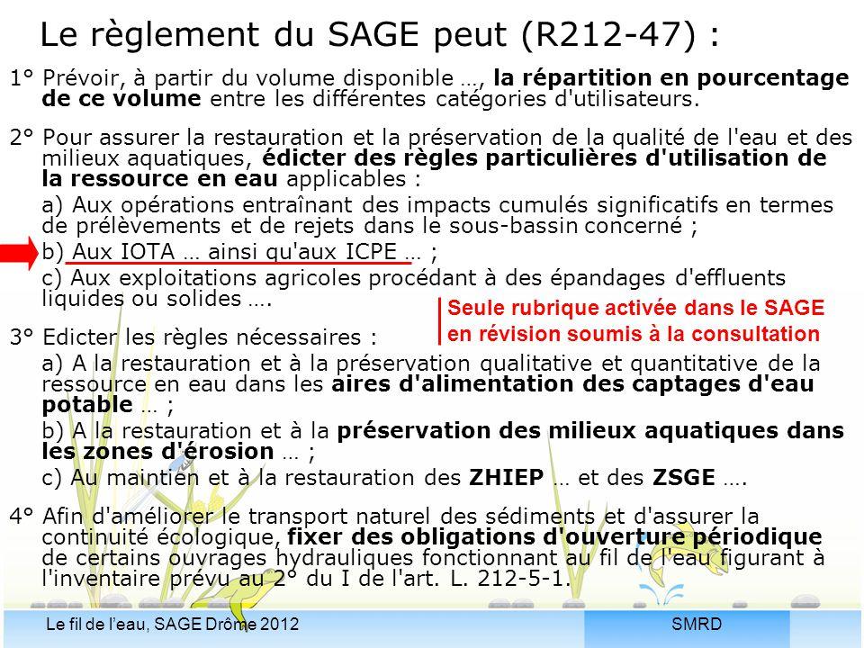 SMRDLe fil de l'eau, SAGE Drôme 2012 Le règlement du SAGE peut (R212-47) : 1° Prévoir, à partir du volume disponible …, la répartition en pourcentage