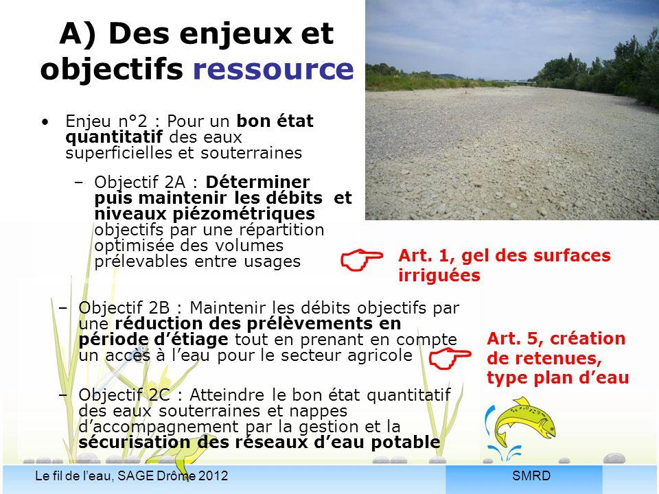 SMRDLe fil de l'eau, SAGE Drôme 2012 A) Des enjeux et objectifs ressource –Objectif 2B : Maintenir les débits objectifs par une réduction des prélèvem