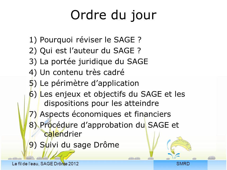 SMRDLe fil de l'eau, SAGE Drôme 2012 Ordre du jour 1) Pourquoi réviser le SAGE ? 2) Qui est l'auteur du SAGE ? 3) La portée juridique du SAGE 4) Un co