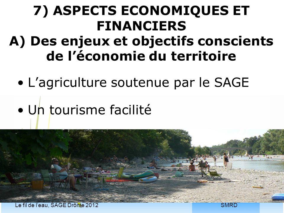 SMRDLe fil de l'eau, SAGE Drôme 2012 7) ASPECTS ECONOMIQUES ET FINANCIERS A) Des enjeux et objectifs conscients de l'économie du territoire L'agricult