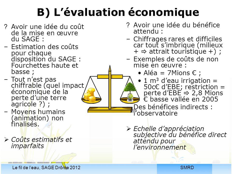 SMRDLe fil de l'eau, SAGE Drôme 2012 B) L'évaluation économique ?Avoir une idée du bénéfice attendu : –Chiffrages rares et difficiles car tout s'imbri