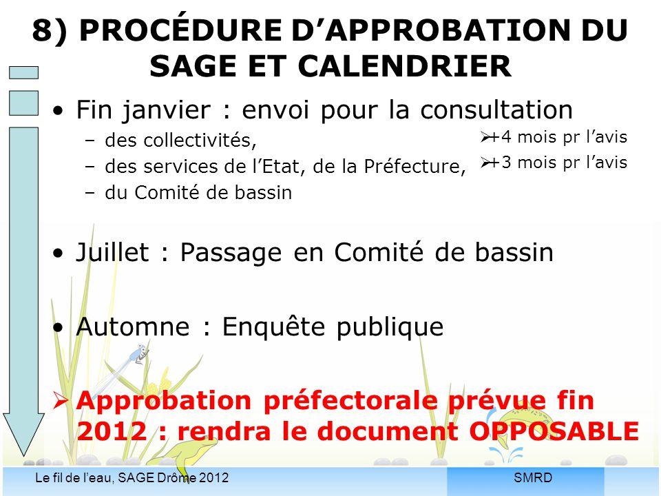 SMRDLe fil de l'eau, SAGE Drôme 2012 Fin janvier : envoi pour la consultation –des collectivités, –des services de l'Etat, de la Préfecture, –du Comit