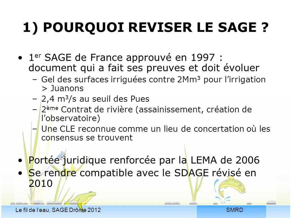 SMRDLe fil de l'eau, SAGE Drôme 2012 1) POURQUOI REVISER LE SAGE ? 1 er SAGE de France approuvé en 1997 : document qui a fait ses preuves et doit évol