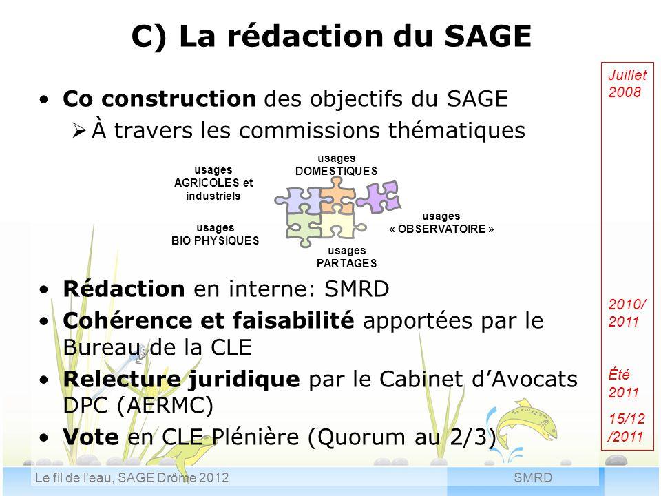 SMRDLe fil de l'eau, SAGE Drôme 2012 C) La rédaction du SAGE Co construction des objectifs du SAGE  À travers les commissions thématiques Rédaction e