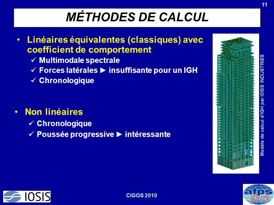 11 CIGOS 2010 MÉTHODES DE CALCUL Linéaires équivalentes (classiques) avec coefficient de comportement Multimodale spectrale Forces latérales ► insuffi