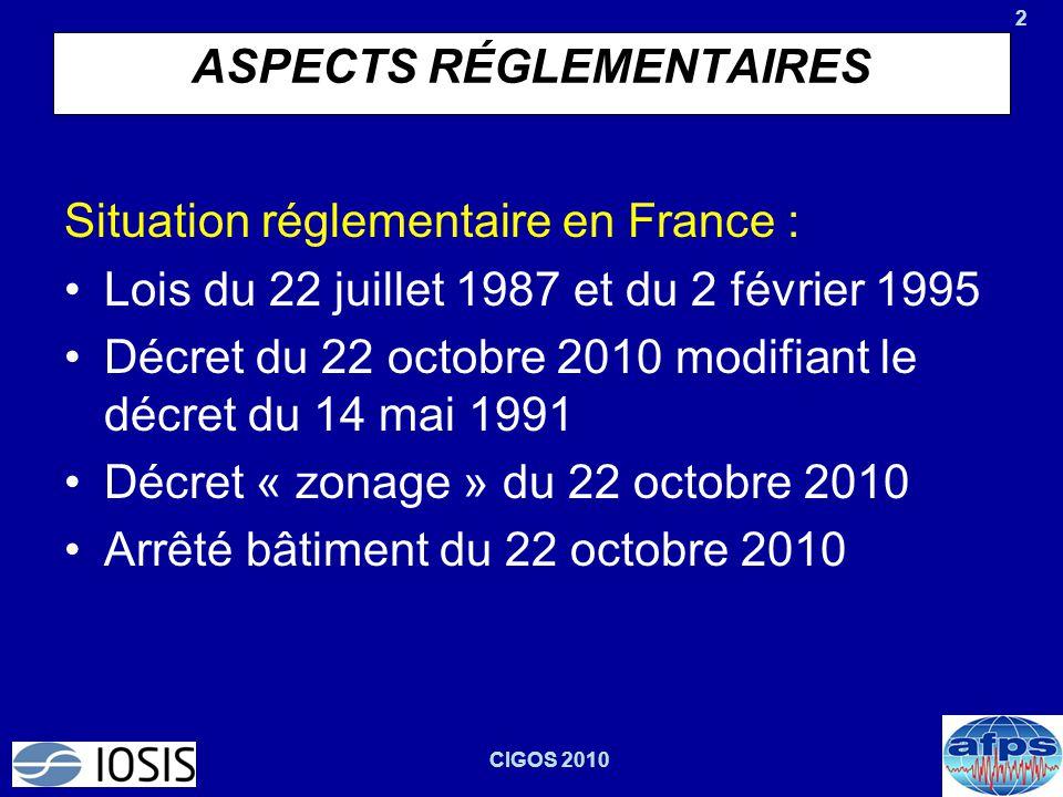 2 CIGOS 2010 ASPECTS RÉGLEMENTAIRES Situation réglementaire en France : Lois du 22 juillet 1987 et du 2 février 1995 Décret du 22 octobre 2010 modifia