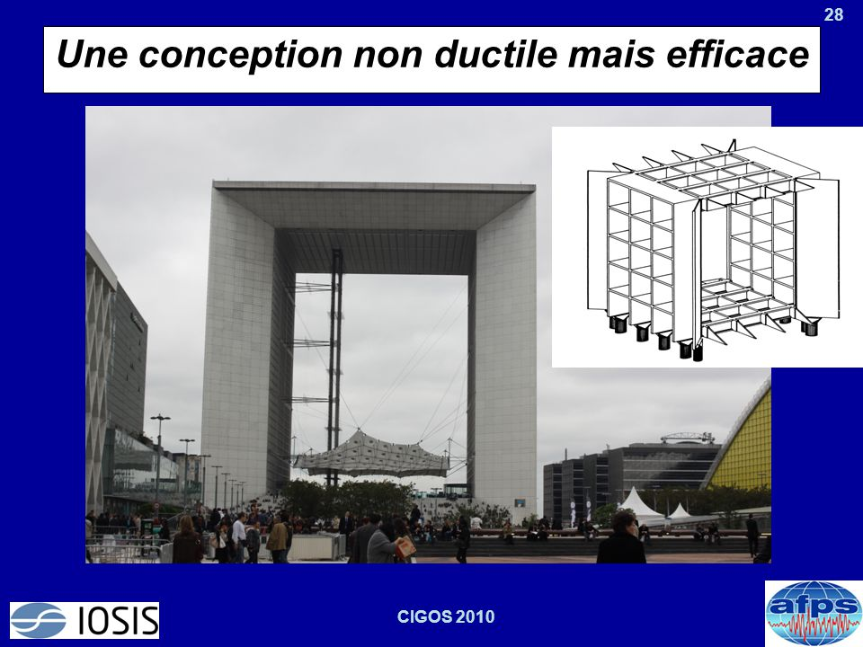 28 CIGOS 2010 Une conception non ductile mais efficace