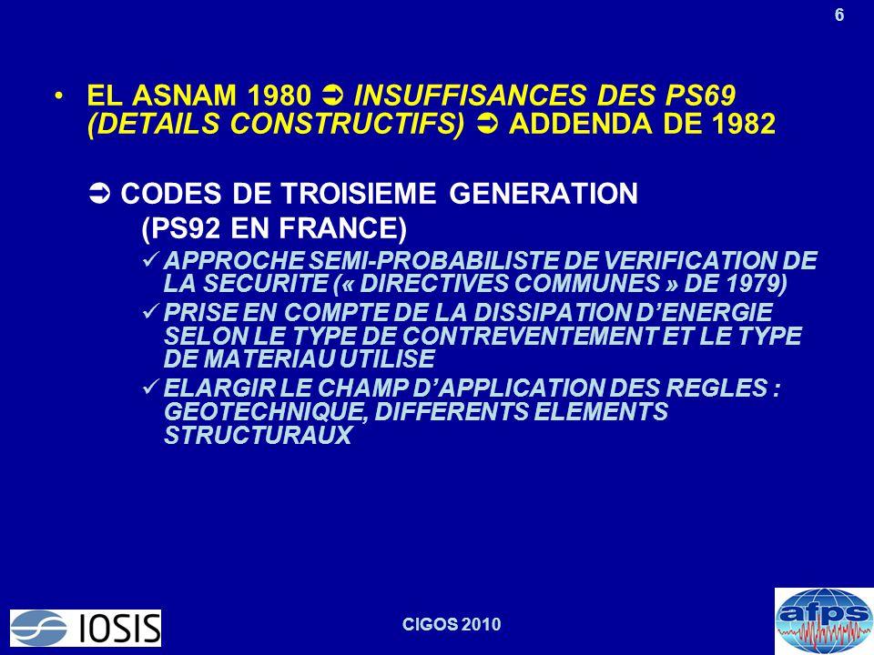6 CIGOS 2010 EL ASNAM 1980  INSUFFISANCES DES PS69 (DETAILS CONSTRUCTIFS)  ADDENDA DE 1982  CODES DE TROISIEME GENERATION (PS92 EN FRANCE) APPROCHE