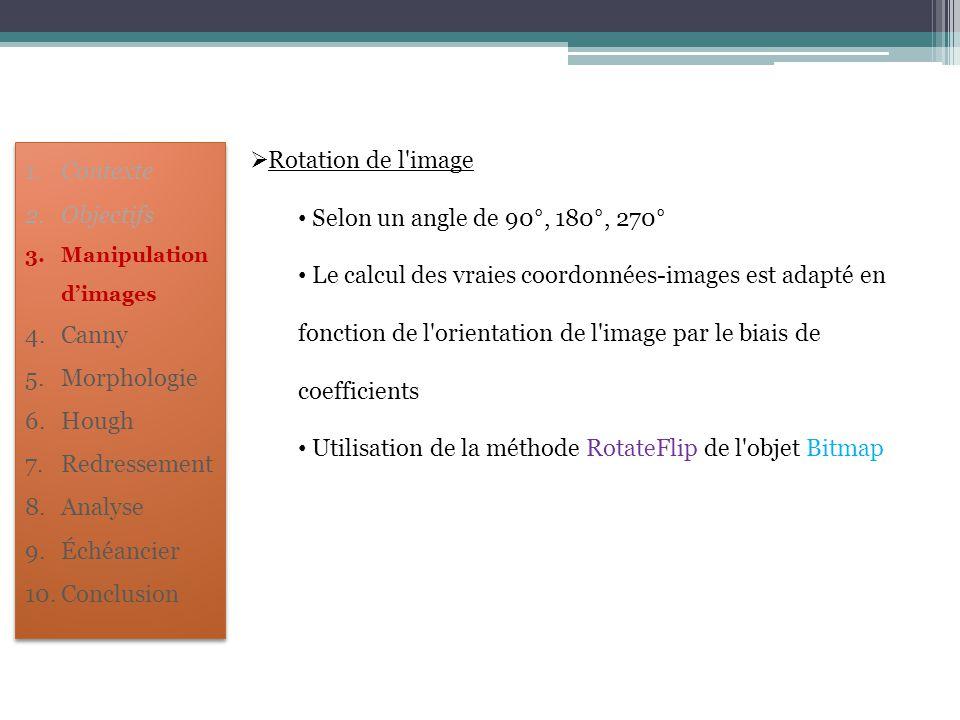  Rotation de l'image Selon un angle de 90°, 180°, 270° Le calcul des vraies coordonnées-images est adapté en fonction de l'orientation de l'image par