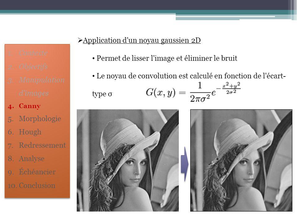  Application d'un noyau gaussien 2D Permet de lisser l'image et éliminer le bruit Le noyau de convolution est calculé en fonction de l'écart- type σ