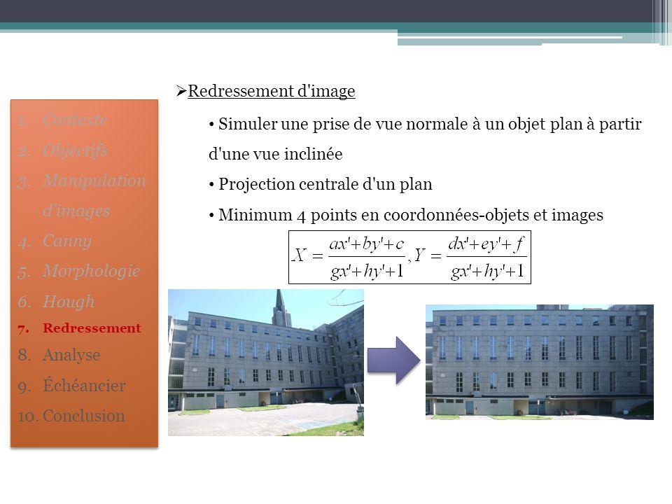  Redressement d'image Simuler une prise de vue normale à un objet plan à partir d'une vue inclinée Projection centrale d'un plan Minimum 4 points en