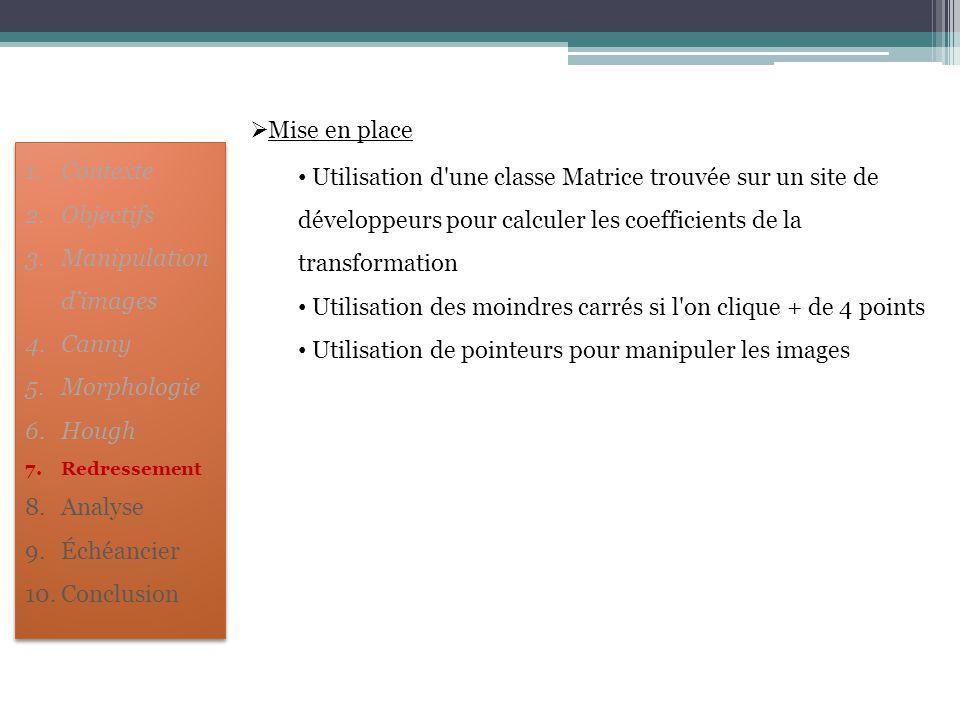  Mise en place Utilisation d'une classe Matrice trouvée sur un site de développeurs pour calculer les coefficients de la transformation Utilisation d