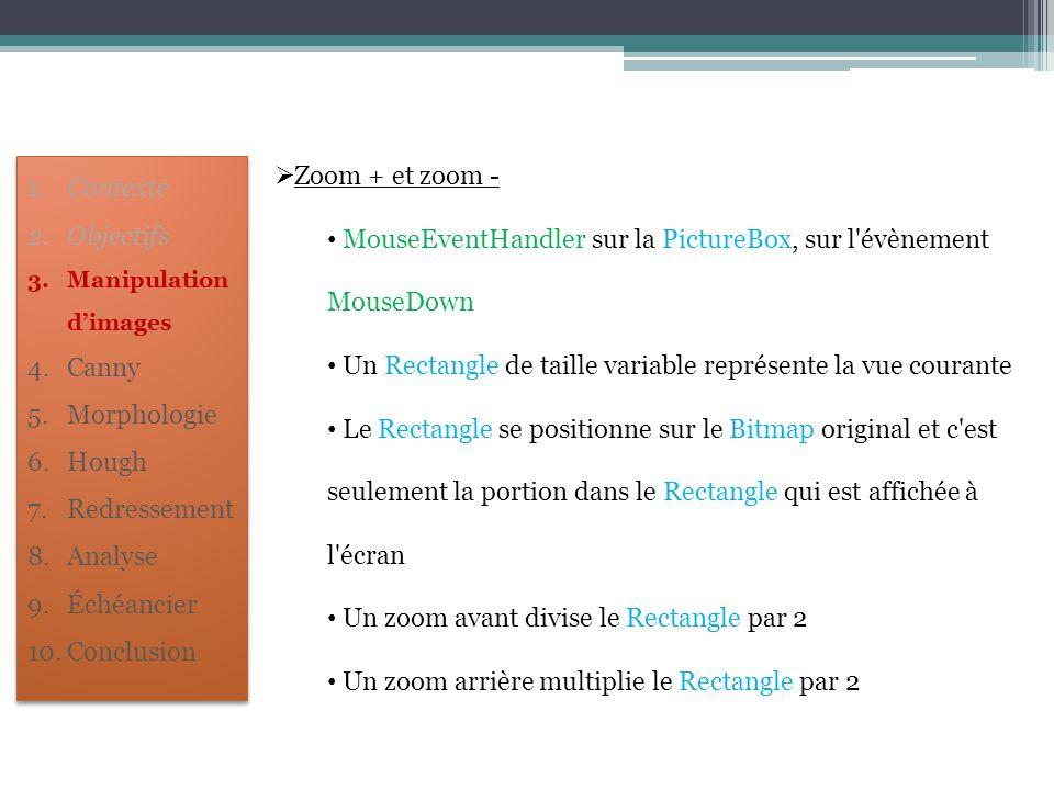  Zoom + et zoom - MouseEventHandler sur la PictureBox, sur l'évènement MouseDown Un Rectangle de taille variable représente la vue courante Le Rectan