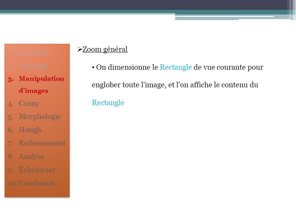  Zoom général On dimensionne le Rectangle de vue courante pour englober toute l'image, et l'on affiche le contenu du Rectangle 1.Contexte 2.Objectifs