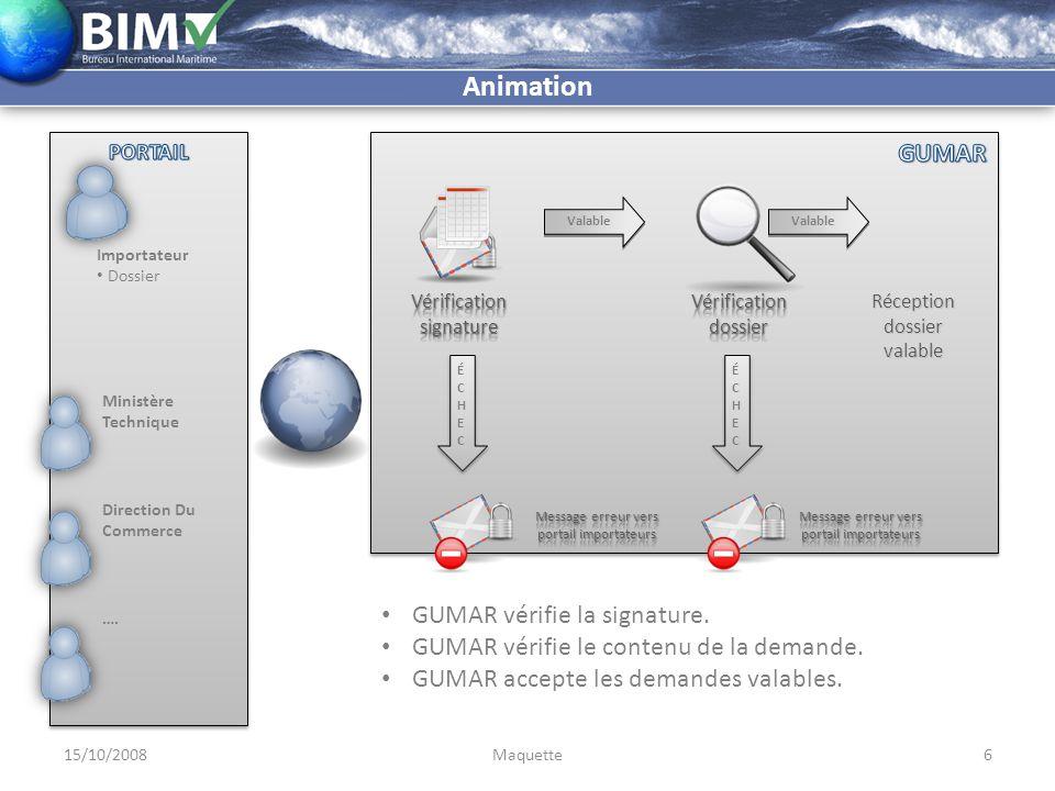 Importateur Dossier Demande de licence Demande de visa 15/10/20087Maquette Animation Après réception d'un dossier valable: Le dossier est enregistrée dans la base de données.