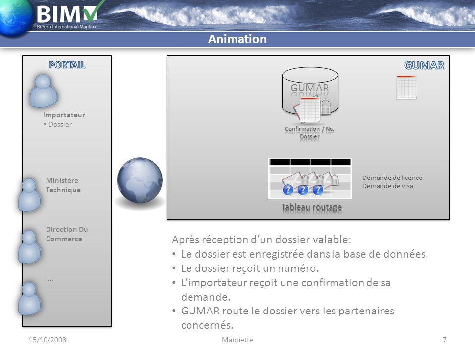 Importateur Dossier Confirmation Numéro GUMAR 15/10/20088Maquette Animation Les partenaires donnent leurs visa par des messages signés.