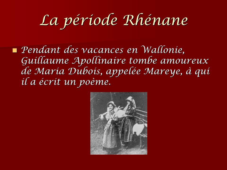 Pendant des vacances en Wallonie, Guillaume Apollinaire tombe amoureux de Maria Dubois, appelée Mareye, à qui il a écrit un poème. Pendant des vacance