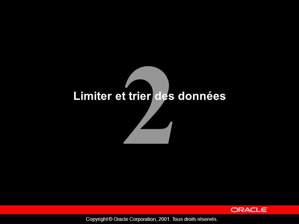 2 Copyright © Oracle Corporation, 2001. Tous droits réservés. Limiter et trier des données