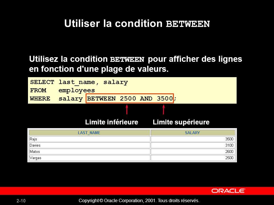 2-10 Copyright © Oracle Corporation, 2001. Tous droits réservés. Utiliser la condition BETWEEN Utilisez la condition BETWEEN pour afficher des lignes